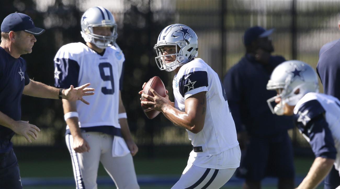 Dallas Cowboys starting quarterback Dak Prescott (4) looks to pass as backup quarterback Tony Romo looks on during an NFL football team practice in Frisco, Texas, Wednesday, Nov. 16, 2016. Prescott frequently said the Dallas Cowboys were still Tony Romo's