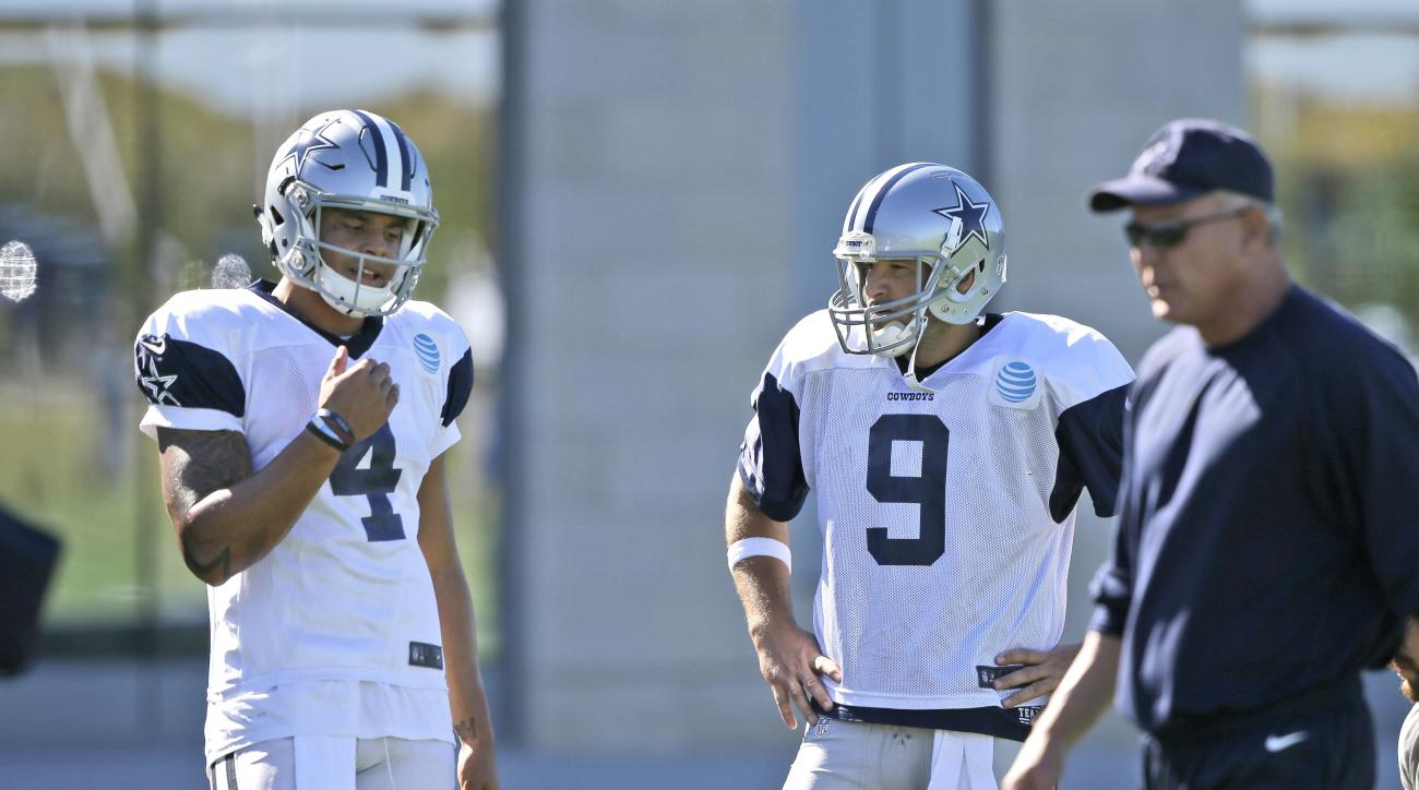 Dallas Cowboys starting quarterback Dak Prescott (4) and backup quarterback Tony Romo stand on the field during an NFL football team practice in Frisco, Texas, Wednesday, Nov. 16, 2016. Prescott frequently said the Dallas Cowboys were still Romo's team ev
