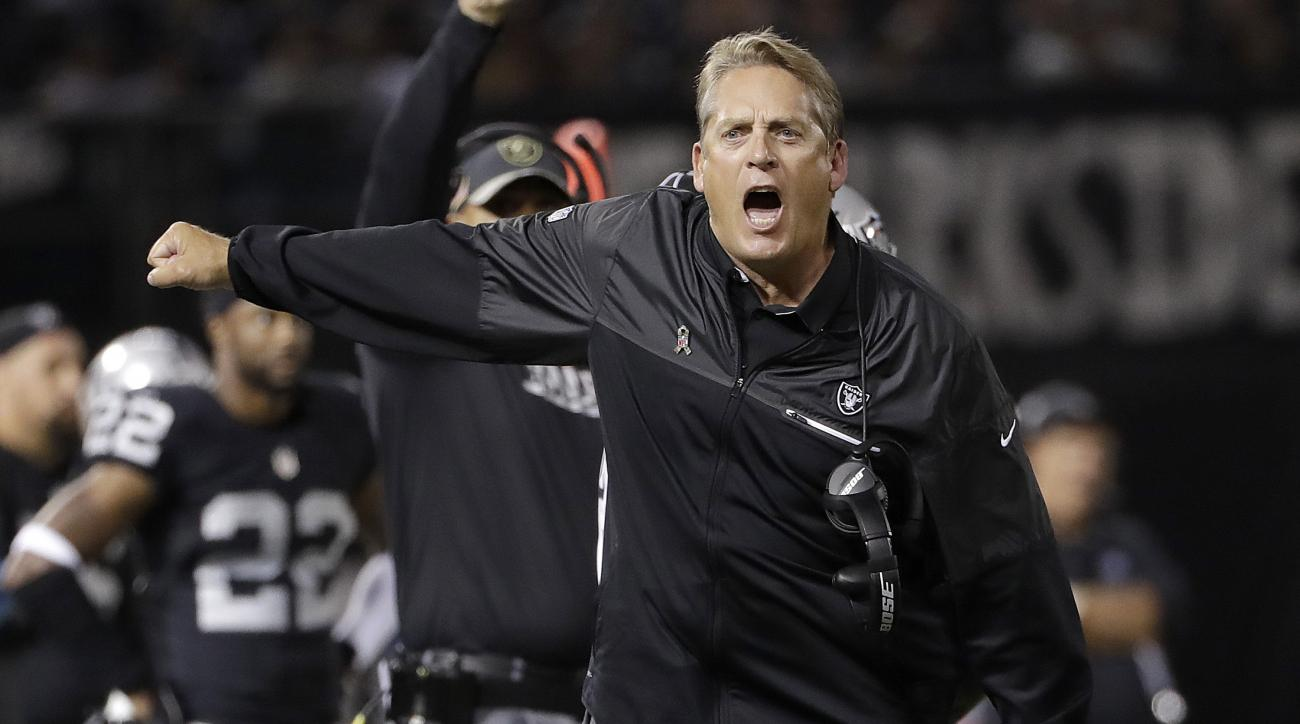 FILE - In this Nov. 6, 2016, file photo, Oakland Raiders coach Jack Del Rio yells during the team's NFL football game against the Denver Broncos in Oakland, Calif. The Raiders enter their game against the Houston Texans in Mexico City on a roll. (AP Photo
