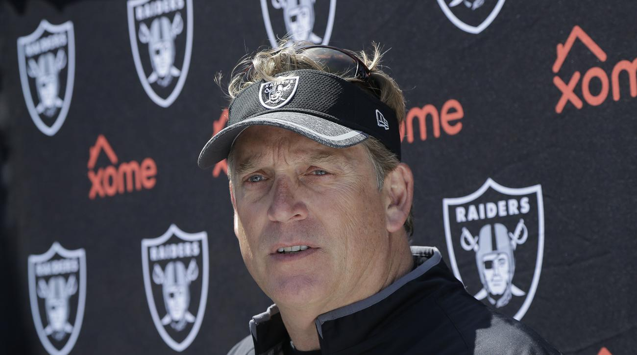 FILE - In this Friday, May 13, 2016 file photo, Oakland Raiders head coach Jack Del Rio speaks to reporters during an NFL football rookie minicamp in Alameda, Calif.  Jack Del Rio is bringing gifts when the Oakland Raiders travel to Mexico City to take on