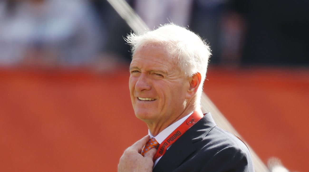 Cleveland Browns owner Jimmy Haslam watches warm ups before an NFL football game against the New England Patriots Sunday, Oct. 9, 2016, in Cleveland. (AP Photo/Ron Schwane)