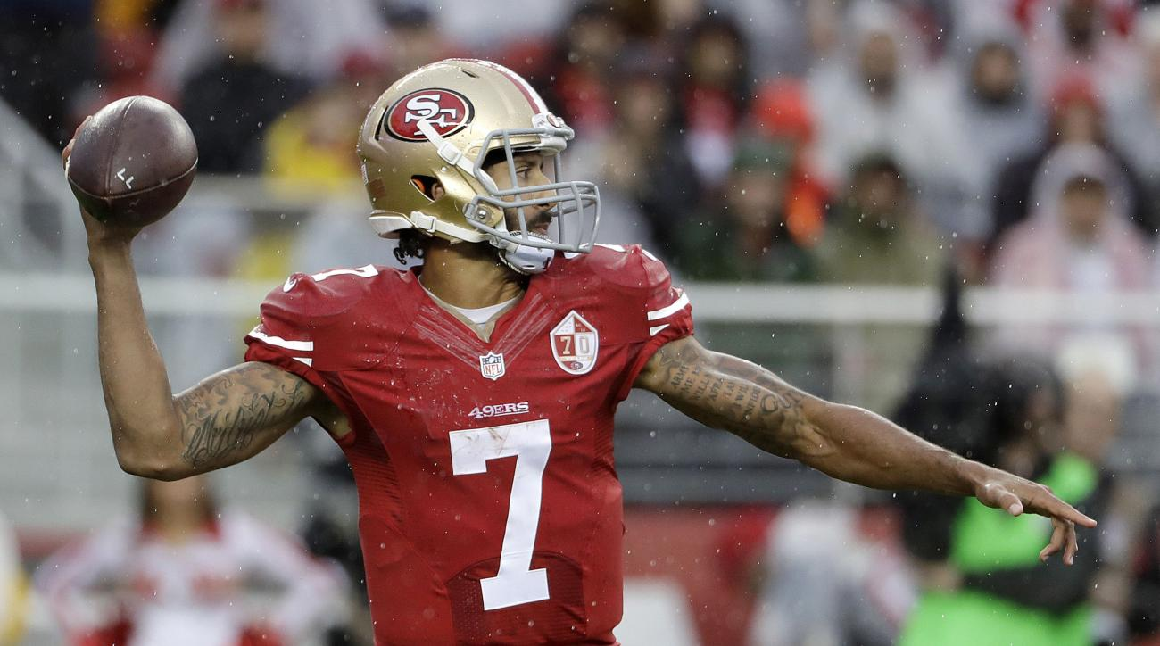 San Francisco 49ers quarterback Colin Kaepernick (7) passes against the New England Patriots during the first half of an NFL football game in Santa Clara, Calif., Sunday, Nov. 20, 2016. (AP Photo/Marcio Jose Sanchez)