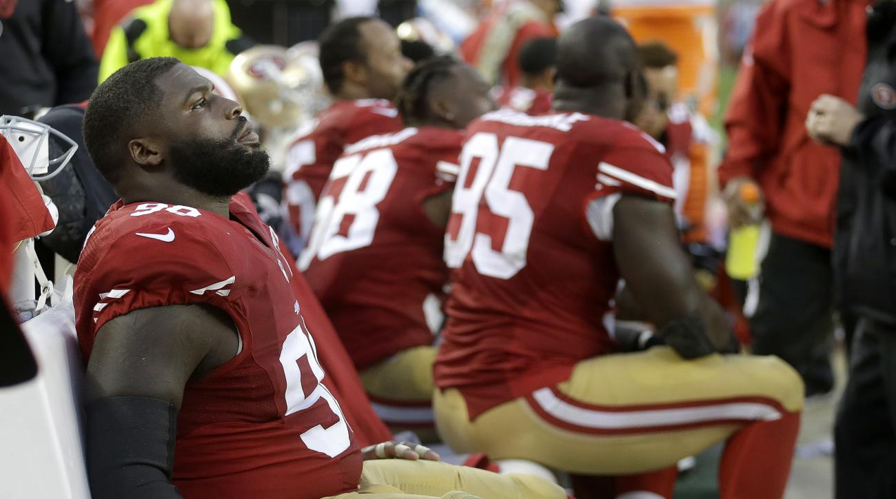 San Francisco 49ers nose tackle Glenn Dorsey sits on the bench during the second half of an NFL football game against the New England Patriots in Santa Clara, Calif., Sunday, Nov. 20, 2016. (AP Photo/Ben Margot)