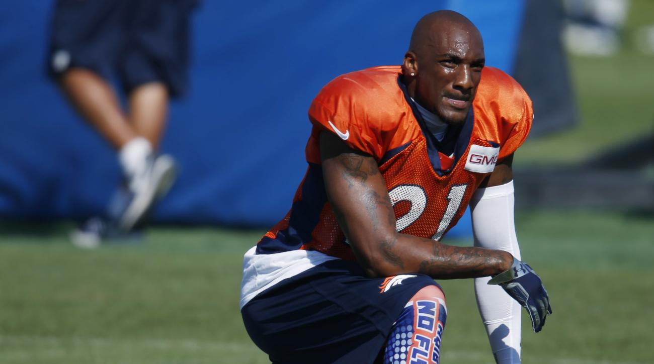 FILE - In this Aug. 18, 2016, file photo, Denver Broncos cornerback Aqib Talib takes a break while taking part in drills against the San Francisco 49ers during the teams' joint NFL training camp session in Englewood, Colo. Following his first practice sin
