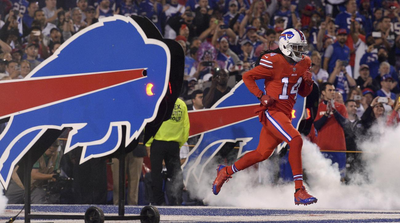 FILE - In this Sept. 15, 2016, file photo shows Buffalo Bills wide receiver Sammy Watkins (14) running onto the field as he is introduced before an NFL football game against the New York Jets, in Orchard Park, N.Y. Bills general manager Doug Whaley antici