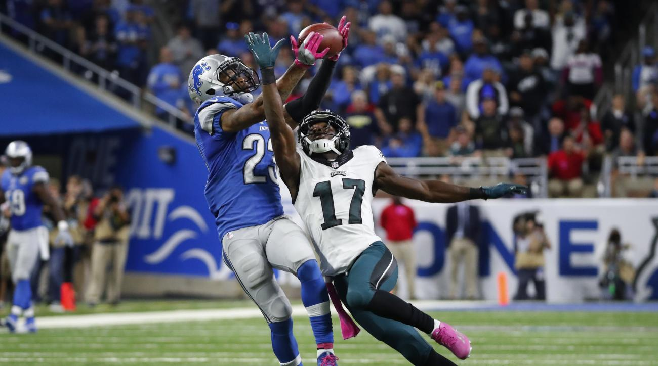 FILE - In this Oct. 9, 2016, file photo, Detroit Lions cornerback Darius Slay (23) intercepts a pass intended for Philadelphia Eagles wide receiver Nelson Agholor (17) in the fourth quarter of an NFL football game, in Detroit. The Detroit Lions hosts the