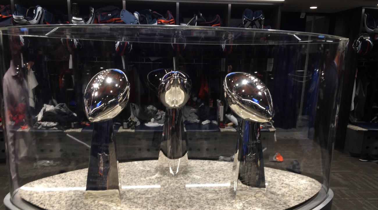 The Denver Broncos installed a trophy case in their locker room to display the franchise's three Lombardi Trophies, including the one from Super Bowl 50 that they won with a 24-10 victory over Carolina on Feb. 7, in Englewood, Colo., Wednesday, Nov. 23, 2