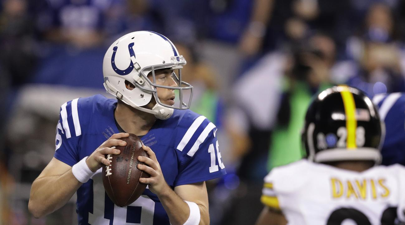 Indianapolis Colts quarterback Scott Tolzien looks to throw during the first half of an NFL football game against the Pittsburgh Steelers, Thursday, Nov. 24, 2016, in Indianapolis. (AP Photo/Darron Cummings)