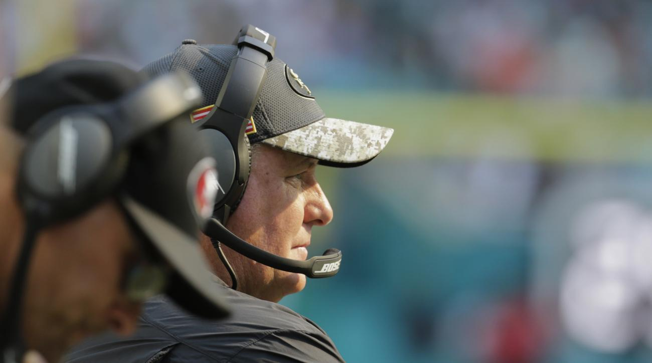 San Francisco 49ers head coach Chip Kelly looks at his team during the first half of an NFL football game against the Miami Dolphins, Sunday, Nov. 27, 2016, in Miami Gardens, Fla. (AP Photo/Lynne Sladky)
