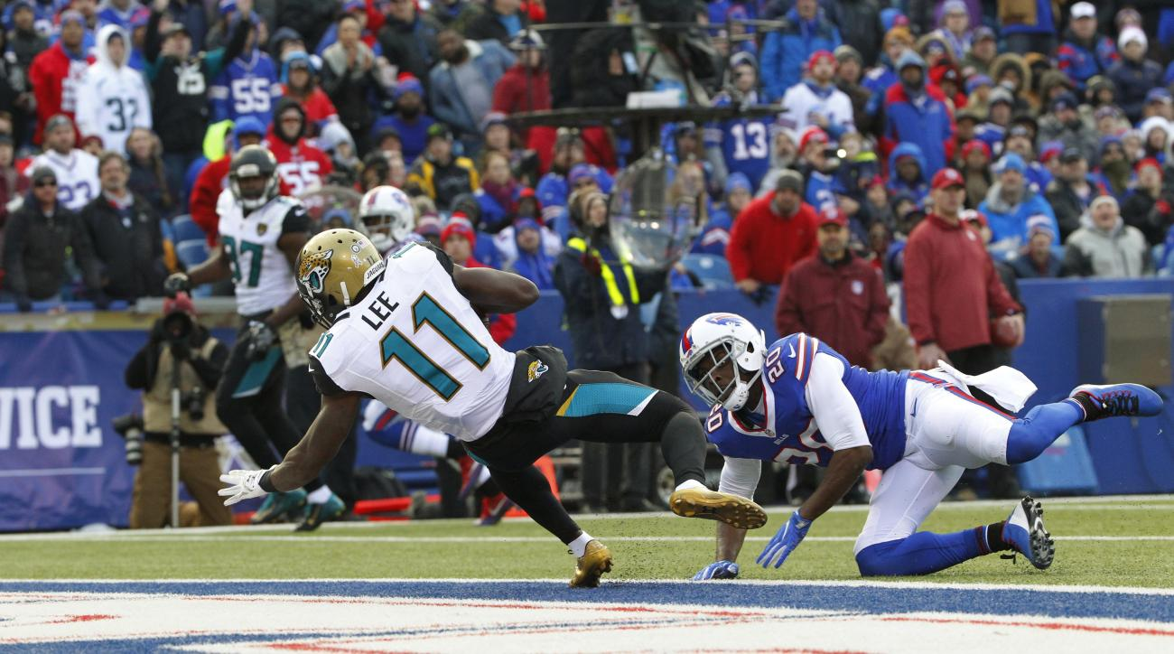 Jacksonville Jaguars wide receiver Marqise Lee (11) gets past Buffalo Bills' Corey Graham (20) for a touchdown during the second half of an NFL football game Sunday, Nov. 27, 2016, in Orchard Park, N.Y. (AP Photo/Bill Wippert)