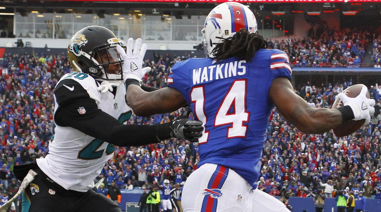 Buffalo Bills wide receiver Sammy Watkins (14) stiff-arms Jacksonville Jaguars' Jalen Ramsey (20) during the second half of an NFL football game, Sunday, Nov. 27, 2016, in Orchard Park, N.Y. (AP Photo/Bill Wippert)