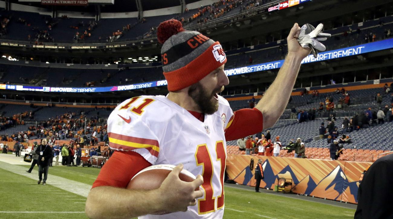 Kansas City Chiefs quarterback Alex Smith (11) leaves the field after an NFL football game against the Denver Broncos, Sunday, Nov. 27, 2016, in Denver. The Chiefs won 30-27 in overtime. (AP Photo/Jack Dempsey)