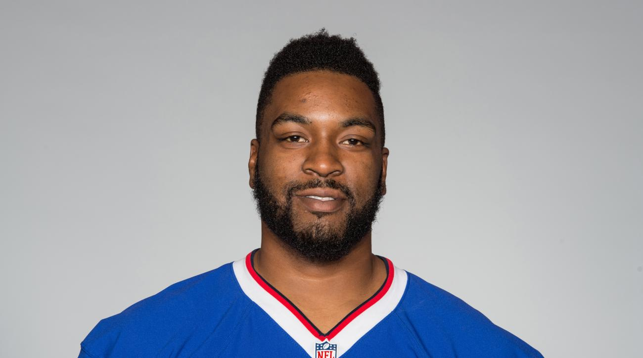 FILE - This is a 2016 photo of Seantrel Henderson of the Buffalo Bills NFL football team. Henderson was suspended Friday, Sept. 9, 2016,  by the NFL for the first four games of the season for violating the league's substance abuse policy. (AP Photo/File)