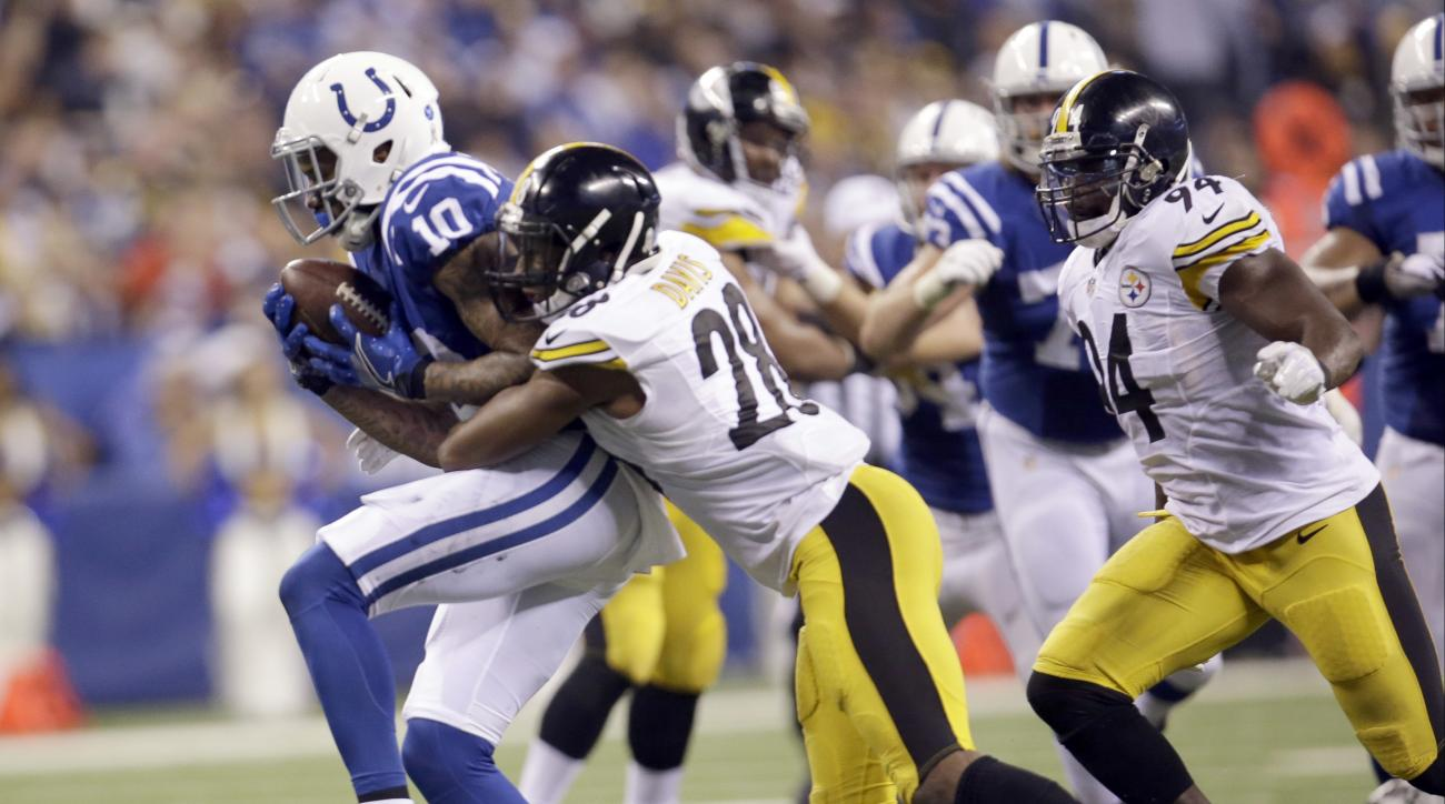 FILE - In this Nov. 24, 2016, file photo, Indianapolis Colts wide receiver Donte Moncrief (10) catches a pass as Pittsburgh Steelers safety Sean Davis (28) defends during the second half an NFL football game, in Indianapolis. The learning curve is startin