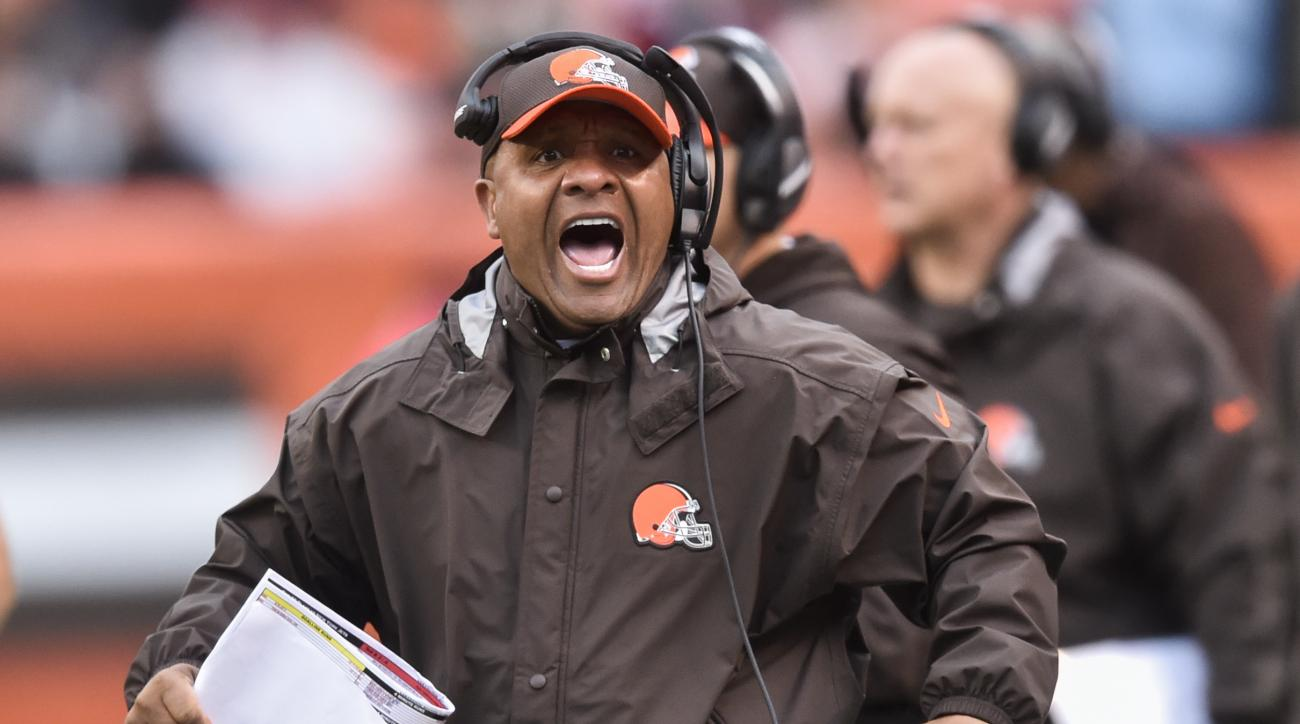 FILE - In this Oct. 30, 2016, file photo, Cleveland Browns head coach Hue Jackson works the sidelines in the second half of an NFL football game against the New York Jets, in Cleveland. Only five teams have started 0-13, and the Browns are desperately try