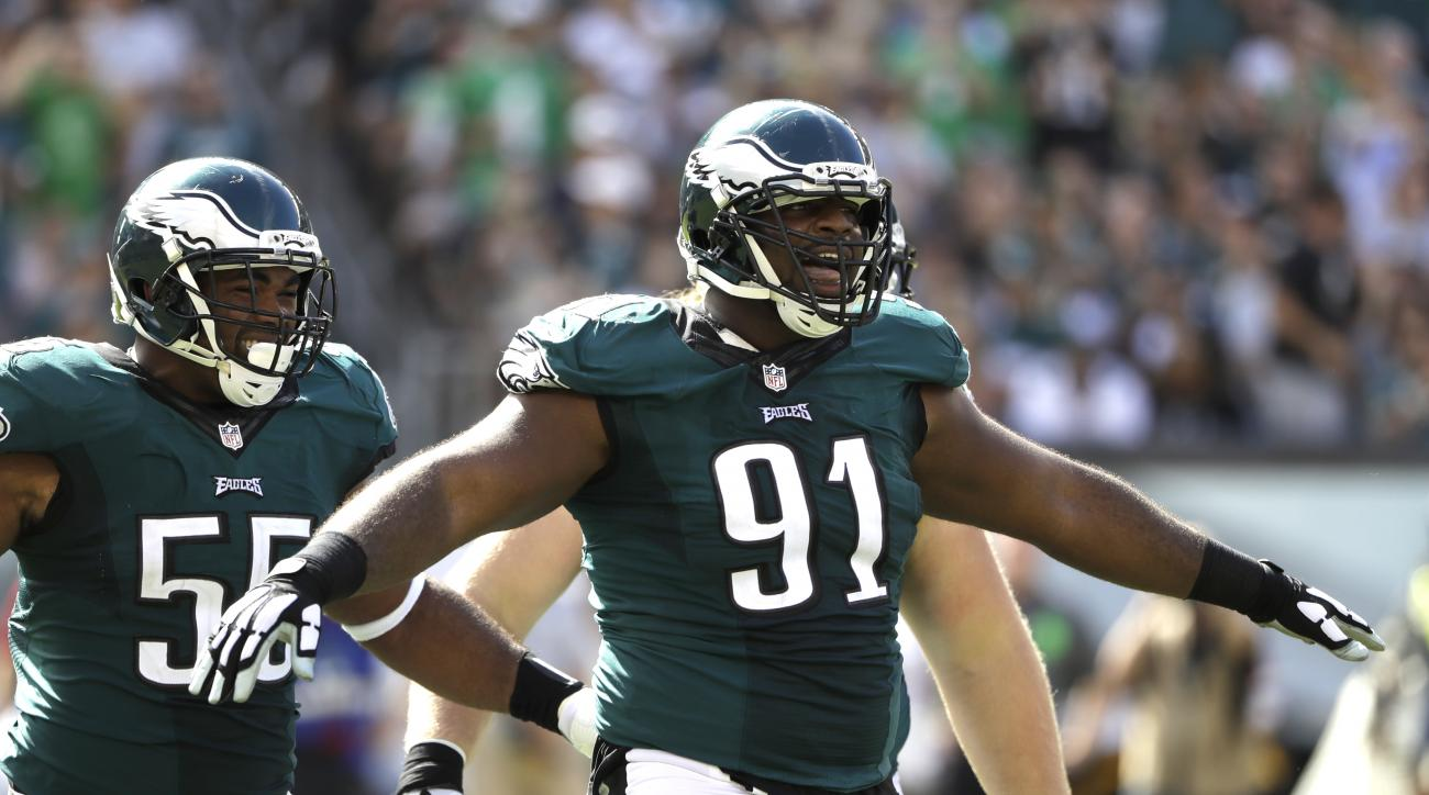 In this Sunday, Sept. 11, 2016, photo, Philadelphia Eagles' Fletcher Cox reacts after a tackle during the second half of an NFL football game against the Cleveland Browns in Philadelphia. The Eagles have only six sacks in the past five games after recordi