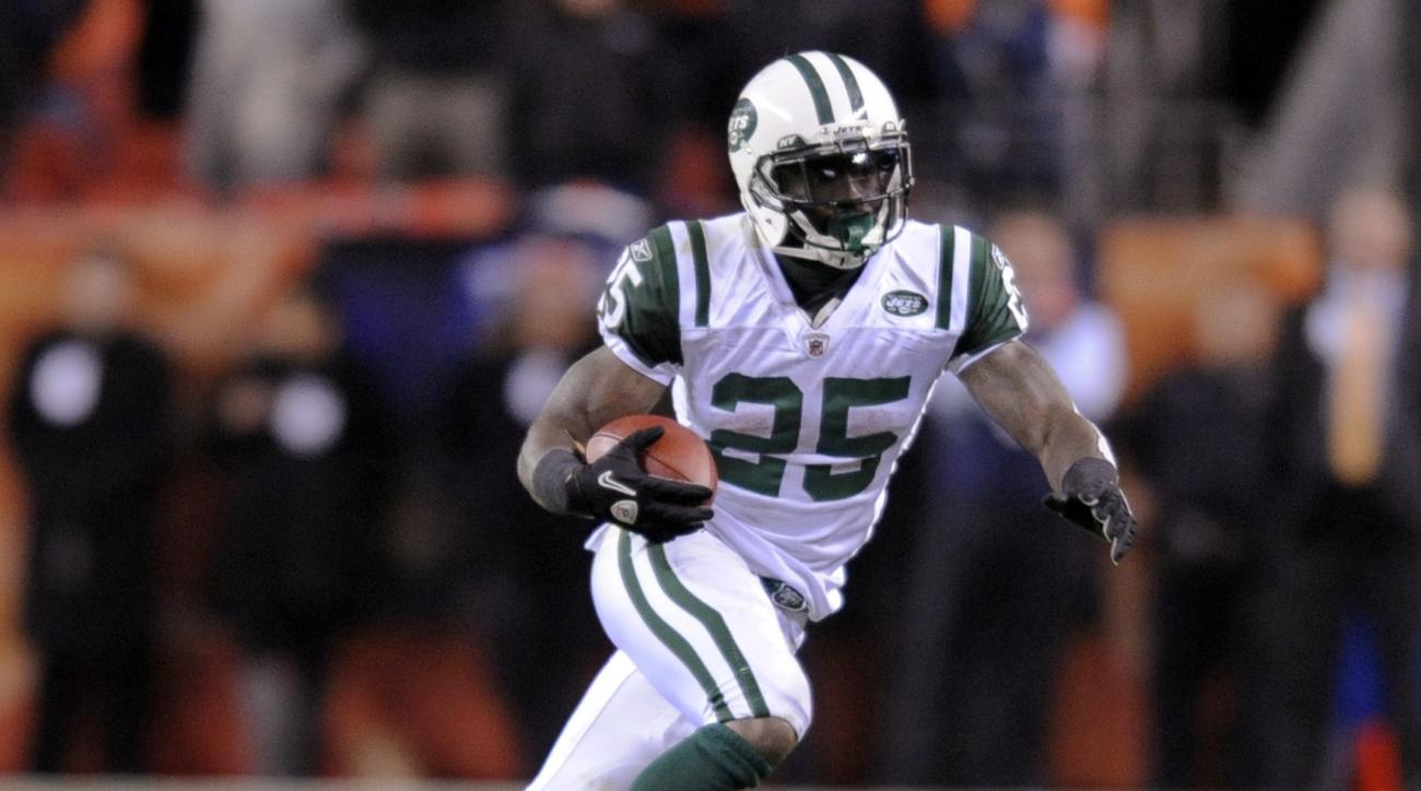 FILE - In this Nov. 17, 2011, file photo, New York Jets running back Joe McKnight (25) runs during an NFL football game against the Denver Broncos in Denver. Former NFL player McKnight has been shot to death following an argument at an intersection with a