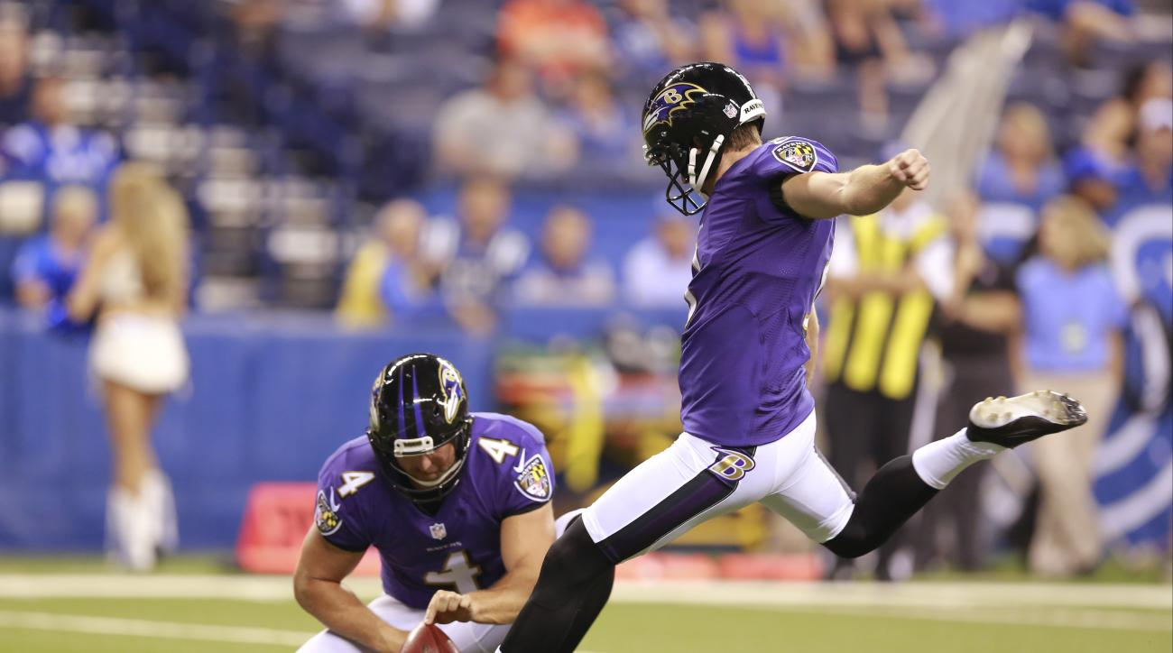 FILE - In this Aug. 20, 2016, file photo, Baltimore Ravens kicker Justin Tucker (9) kicks a field goal from the hold of Baltimore Ravens punter Sam Koch (4) during the second half of an NFL preseason football game against the Indianapolis Colts, in Indian