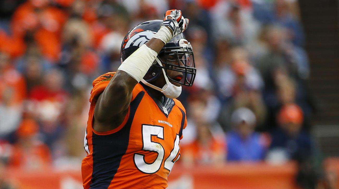 FILE - In this Nov. 15, 2015, file photo, Denver Broncos inside linebacker Brandon Marshall (54) celebrates a stop during an NFL football game against the Kansas City Chiefs, in Denver. Malik Jackson isn't the only one eager to face his former team when t