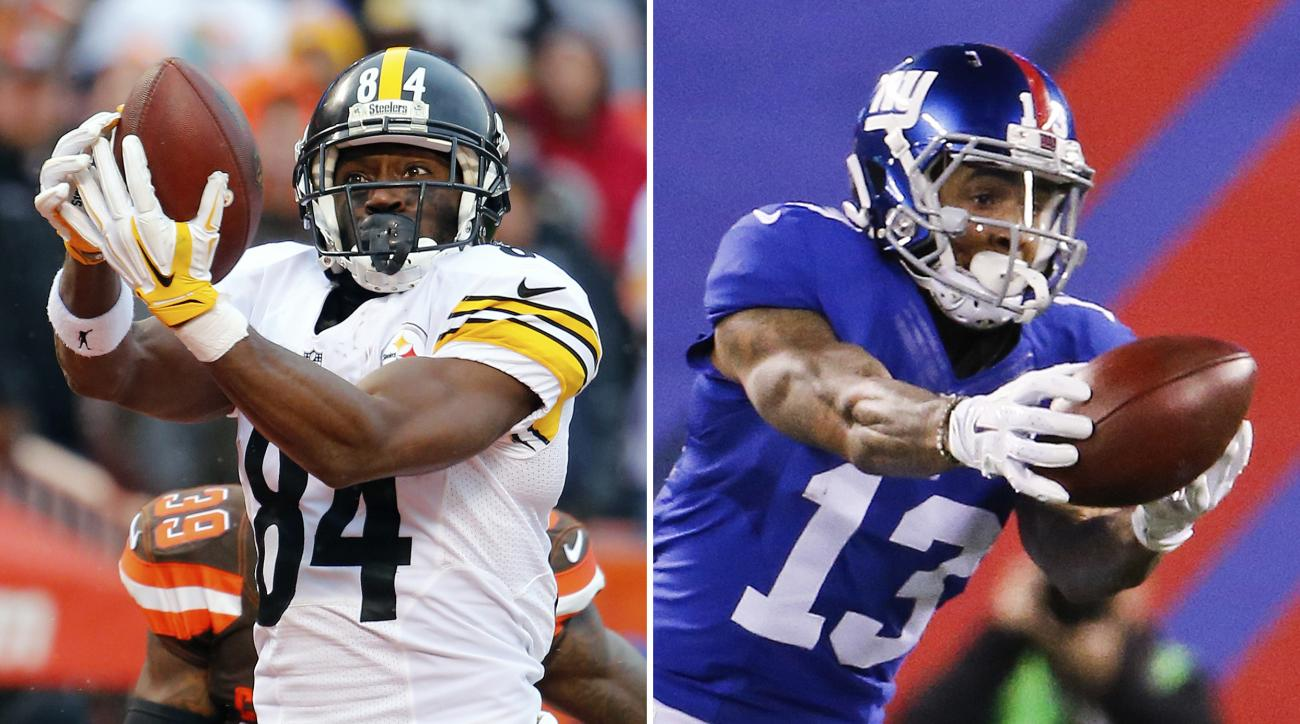 FILE - At left, in a  Jan. 3, 2016, file photo, Pittsburgh Steelers wide receiver Antonio Brown catches a touchdown pass against the Cleveland Browns during an NFL football game in Cleveland, Ohio. At right, in a Nov. 15, 2015, file photo, New York Giants