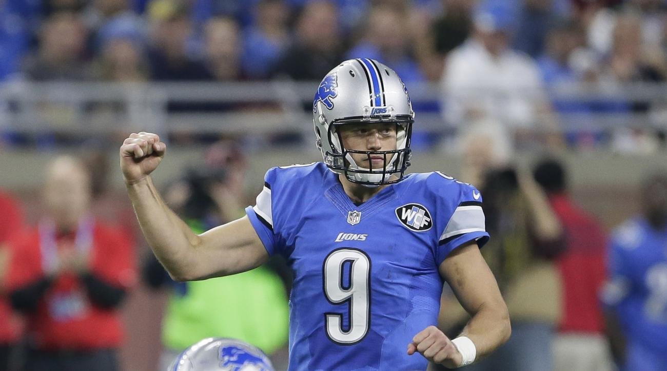 FILE - In this Nov. 24, 2016, file photo, Detroit Lions quarterback Matthew Stafford gestures after a play during the first half of an NFL football game against the Minnesota Vikings, in Detroit. No team plays on the edge in 2016 more than the Lions. Ever