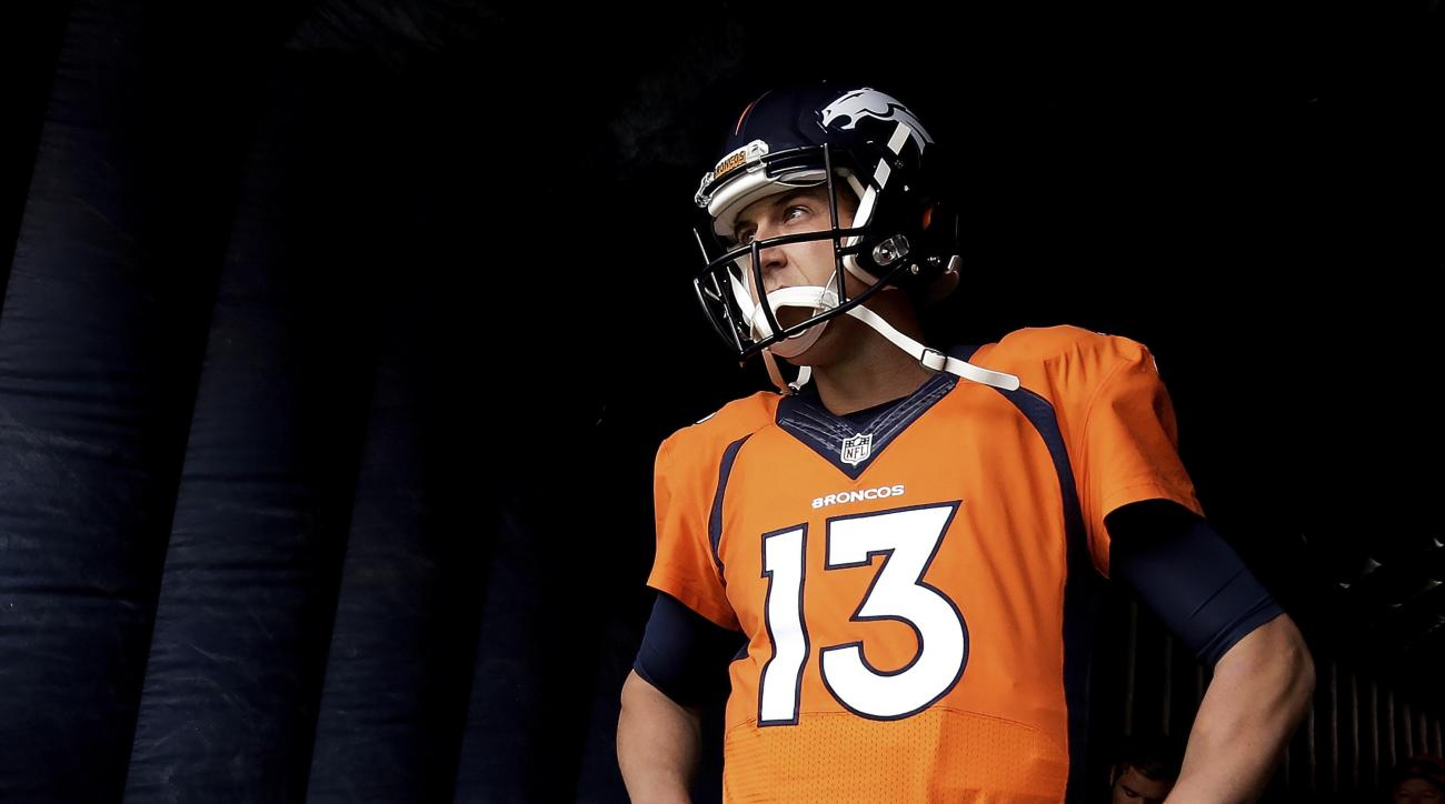 FILE - In this Oct. 30, 2016, file photo, Denver Broncos quarterback Trevor Siemian waitd to be introduced prior to an NFL football game against the San Diego Chargers in Denver. Siemian had hoped to return to practice Friday, Dec. 2, 2016, but the traini