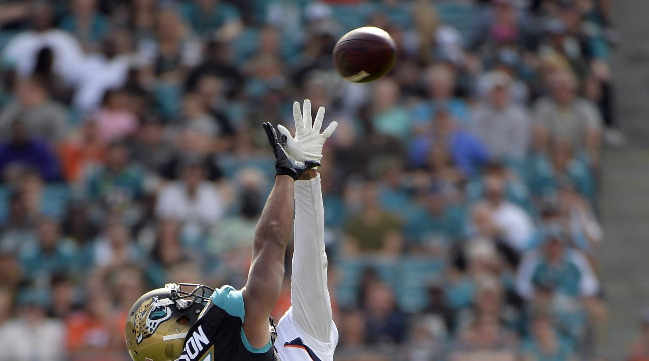 Denver Broncos cornerback Bradley Roby, back breaks up a pass intended for Jacksonville Jaguars wide receiver Allen Robinson (15) during the first half of an NFL football game in Jacksonville, Fla., Sunday, Dec. 4, 2016. (AP Photo/Phelan M. Ebenhack)
