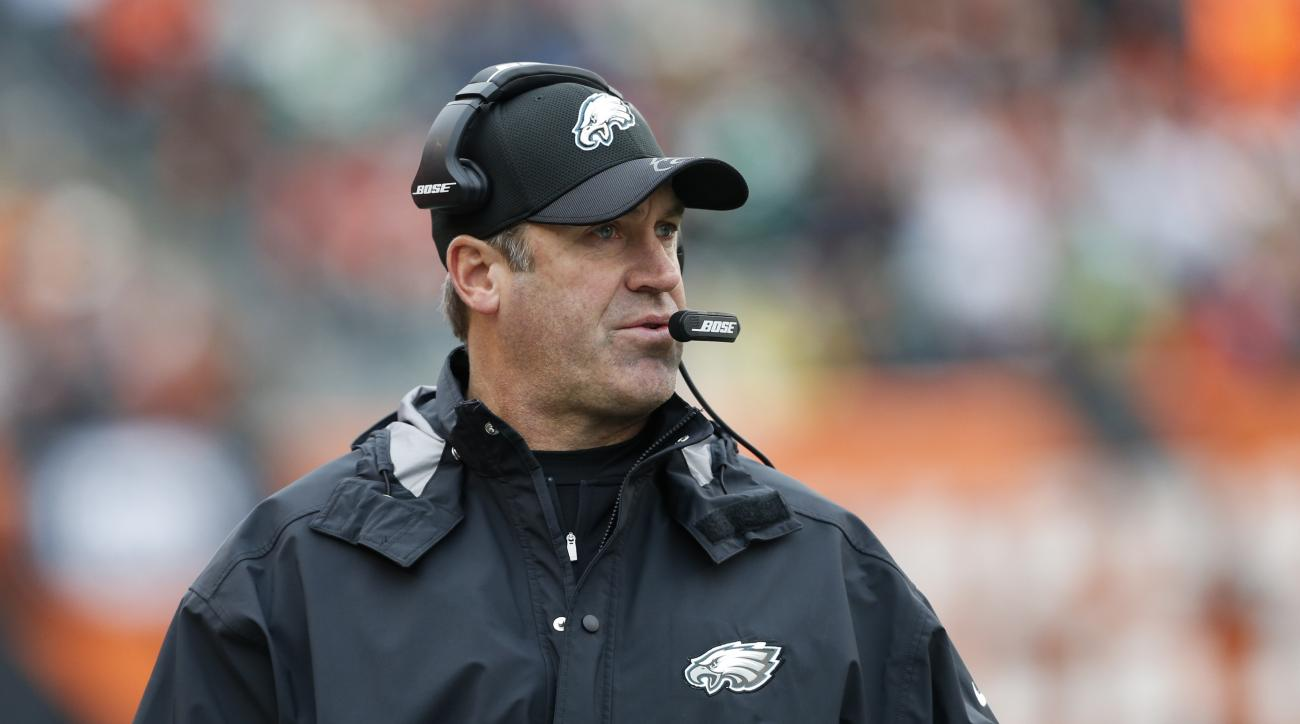 Philadelphia Eagles head coach Doug Pederson works the sidelines in the first half of an NFL football game against the Cincinnati Bengals, Sunday, Dec. 4, 2016, in Cincinnati. (AP Photo/Gary Landers)