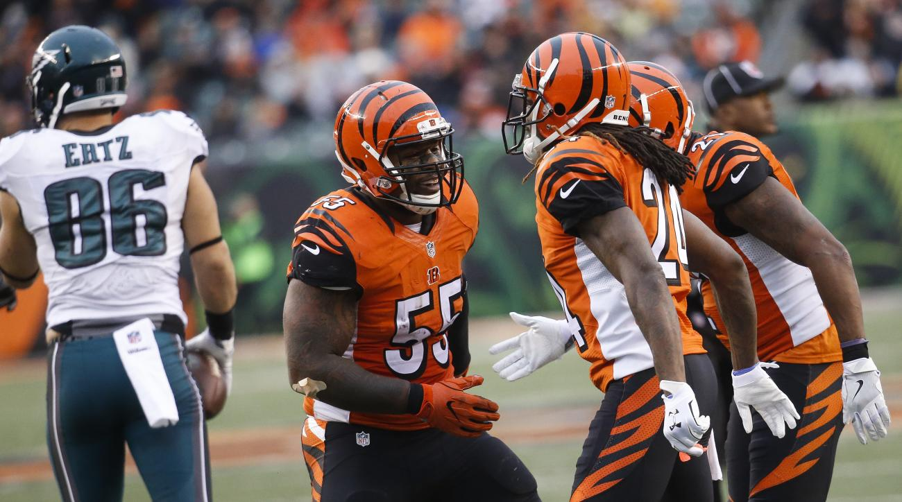 Cincinnati Bengals outside linebacker Vontaze Burfict (55) celebrates in the second half of an NFL football game against the Philadelphia Eagles, Sunday, Dec. 4, 2016, in Cincinnati. (AP Photo/Frank Victores)