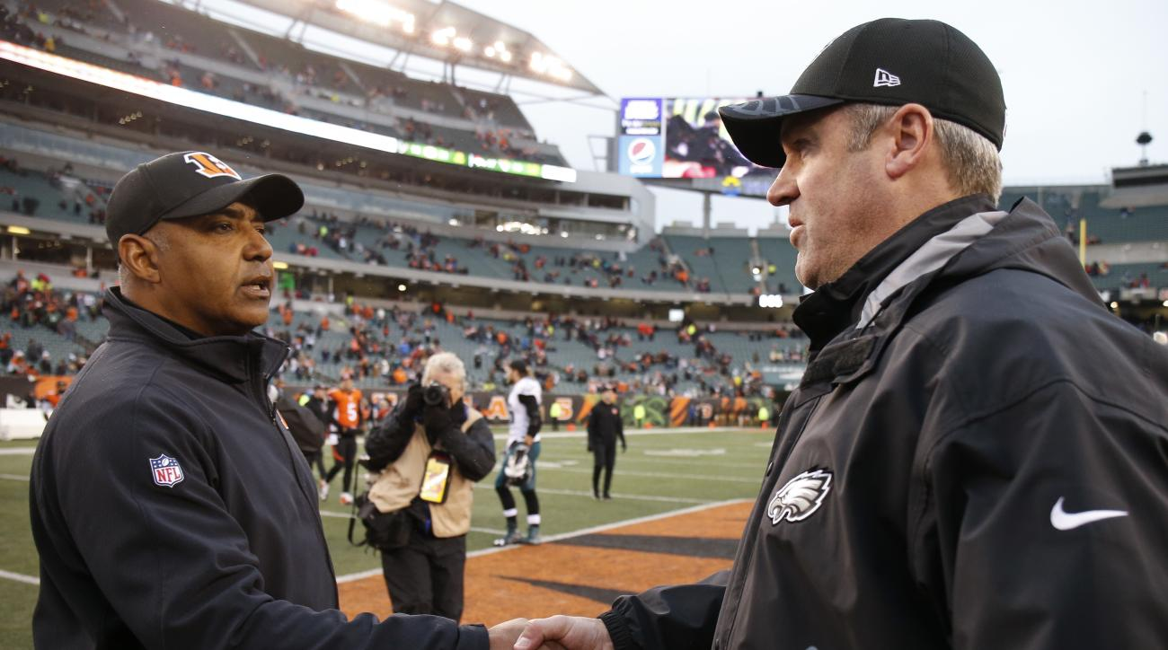 Cincinnati Bengals head coach Marvin Lewis, left, and Philadelphia Eagles head coach Doug Pederson shake hands on the field after an NFL football game, Sunday, Dec. 4, 2016, in Cincinnati.  (AP Photo/Gary Landers)