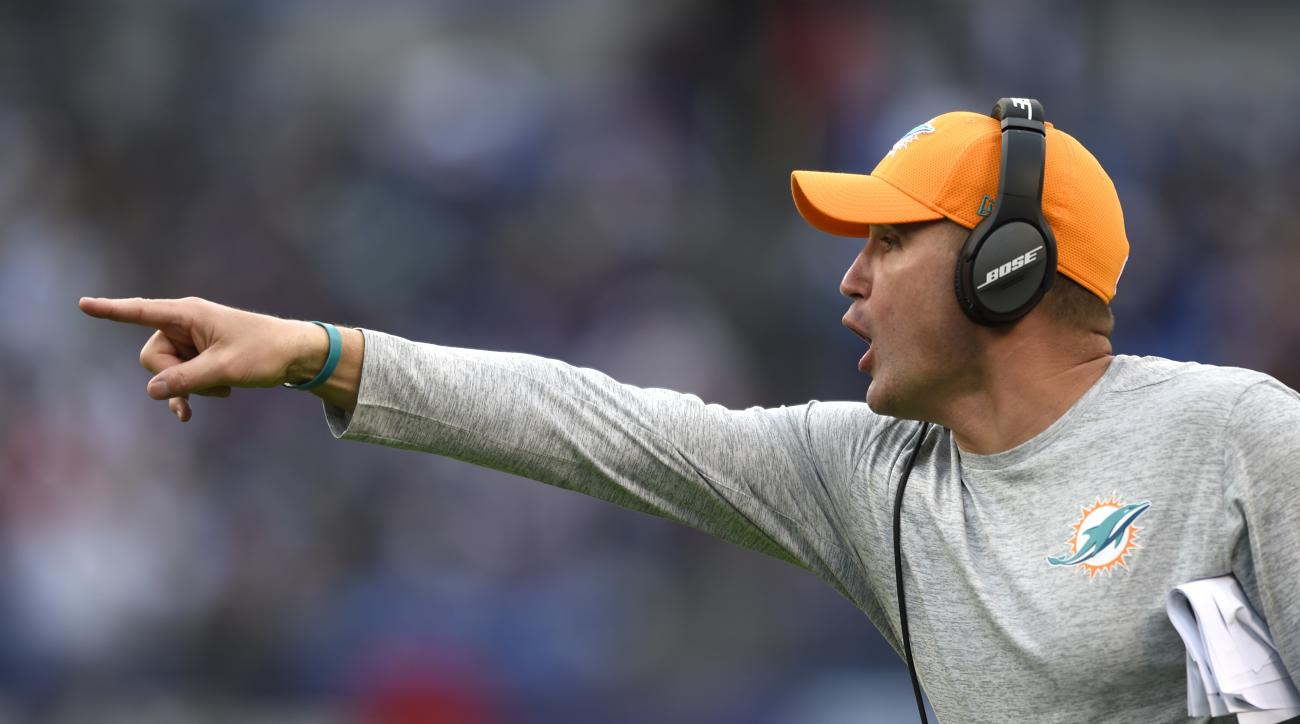 Miami Dolphins head coach Adam Gase points in the second half of an NFL football game against the Baltimore Ravens, Sunday, Dec. 4, 2016, in Baltimore. (AP Photo/Gail Burton)