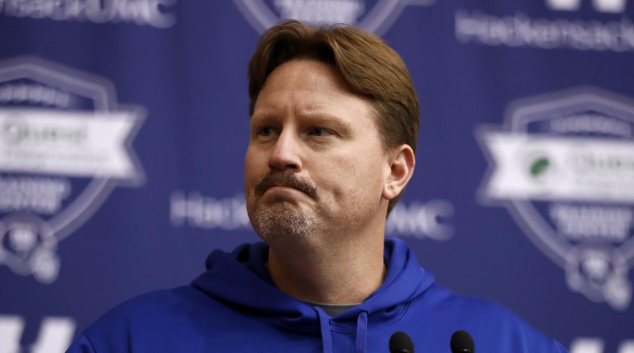 New York Giants head coach Ben McAdoo talks to reporters during NFL football practice, Wednesday, Dec. 7, 2016, in East Rutherford, N.J. The Giants will play the Dallas Cowboys, who are 11-1, on Sunday. (AP Photo/Julio Cortez)