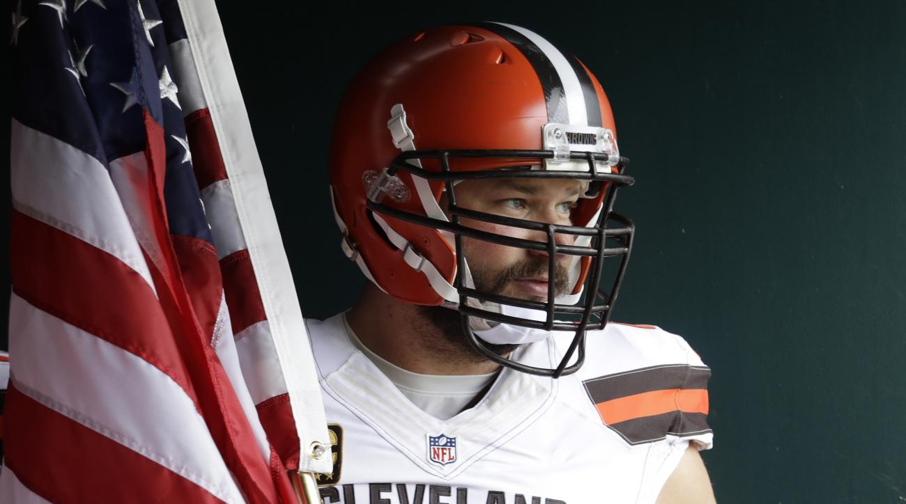 FILE - In this Sept. 11, 2016, file photo, Cleveland Browns' Joe Thomas waits to enter the field before an NFL football game against the Philadelphia Eagles, in Philadelphia. Browns coach Hue Jackson said if the team ever considers trading Pro Bowl left t