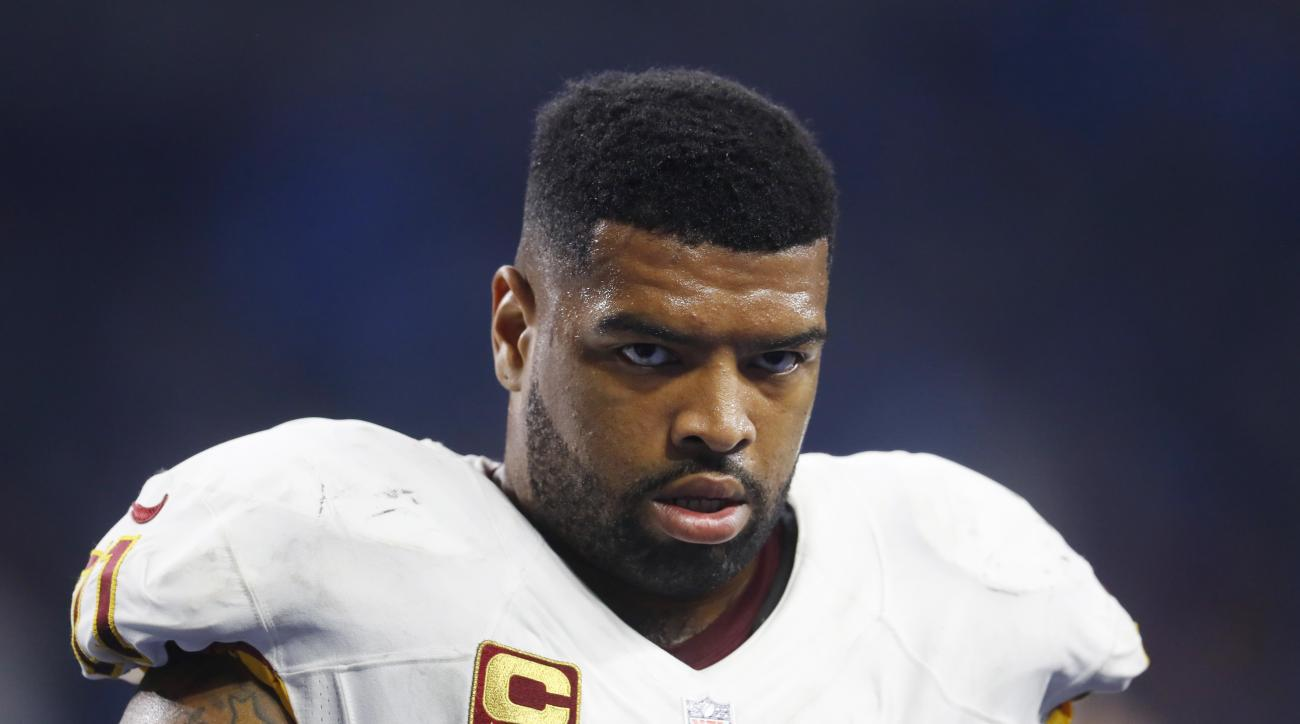 FILE - In this Oct. 23, 2016, file photo, Washington Redskins tackle Trent Williams walks in the bench area during the team's NFL football game against the Detroit Lions in Detroit. Williams was glad to be talkin bout practice. Not a game _ not a game _ b
