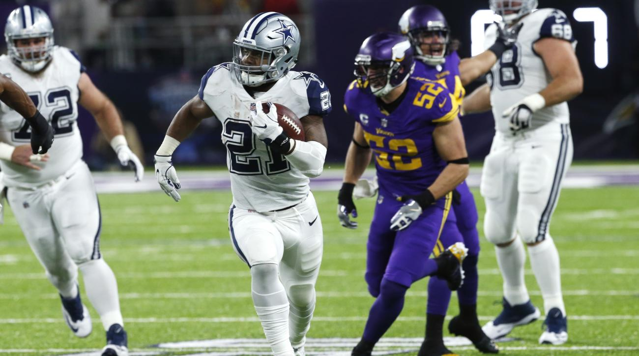 In this Thursday, Dec. 1, 2016, photo, Dallas Cowboys running back Ezekiel Elliott (21) runs up field during the first half of an NFL football game against the Minnesota Vikings in Minneapolis. Roaring out of Texas come the Cowboys, headed to the Big Appl