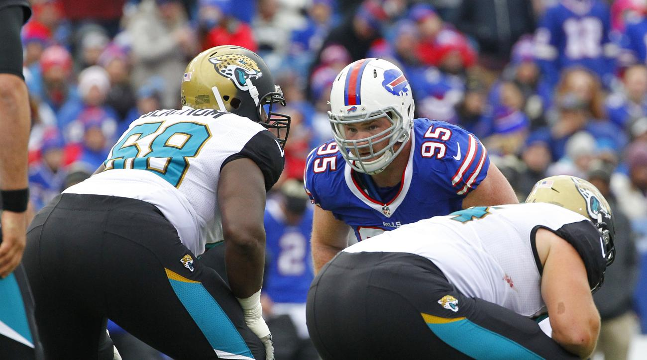 Buffalo Bills defensive end Kyle Williams (95) looks past Jacksonville Jaguars linemen during the first half of NFL football game Sunday, Nov. 27, 2016, in Orchard Park, N.Y. (AP Photo/Bill Wippert)