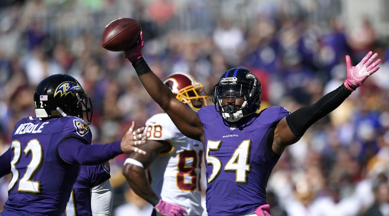 FILE - In this Oct. 9, 2016, file photo, Baltimore Ravens' Zach Orr reacts after a play during the first half of an NFL football game against the Washington Redskins in Baltimore. There once was a time when Ray Lewis roamed the middle of the field for the