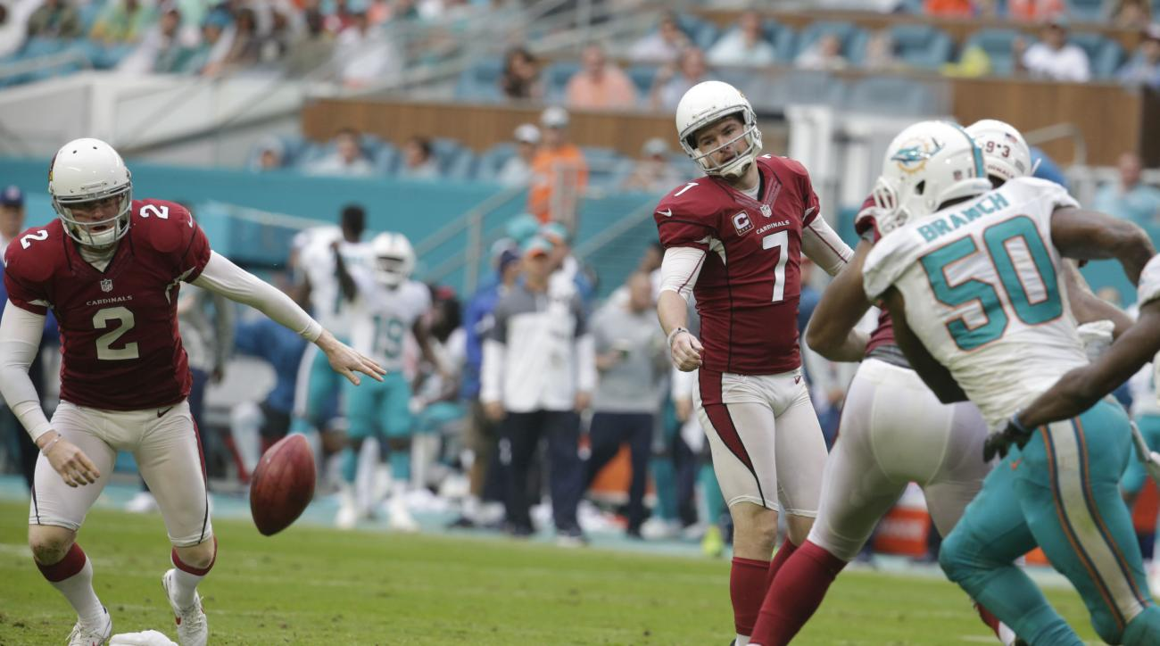Arizona Cardinals kicker Chandler Catanzaro (7) watches as the ball bounces back after the extra point was blocked by Miami Dolphins defensive tackle Jordan Phillips, during the second half of an NFL football game, Sunday, Dec. 11, 2016, in Miami Gardens,