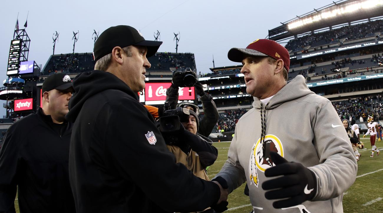 Washington Redskins head coach Jay Gruden right, and Philadelphia Eagles head coach Doug Pederson meet after an NFL football game, Sunday, Dec. 11, 2016, in Philadelphia. (AP Photo/Michael Perez)