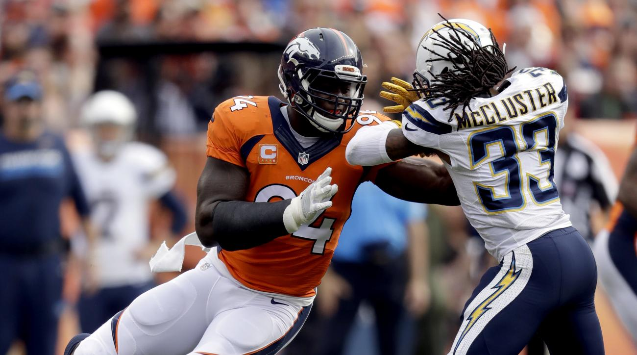 FILE - In this Oct. 30, 2016, file photo, Denver Broncos outside linebacker DeMarcus Ware (94) battles San Diego Chargers wide receiver Dexter McCluster (33) during the first half of an NFL football game, in Denver. Eight veteran players, including freque