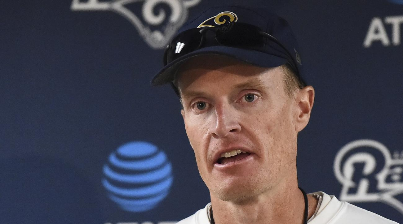 Los Angeles Rams interim head coach John Fassel addresses the media at the team's training facility at California Lutheran University in Thousand Oaks, Calif., Monday, Dec. 12, 2016. Fassel, the team's special teams coach, will replace Jeff Fisher on an i