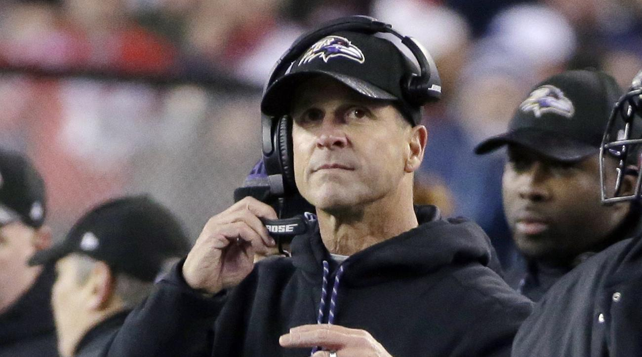 Baltimore Ravens head coach John Harbaugh watches from the sideline during the first half of an NFL football game against the New England Patriots, Monday, Dec. 12, 2016, in Foxborough, Mass. (AP Photo/Steven Senne)
