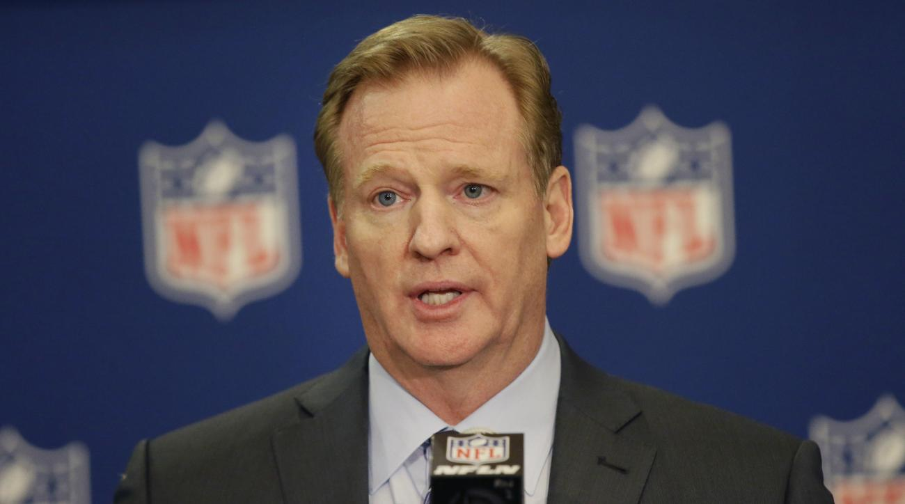 NFL Commissioner Roger Goodell speaks to reporters after the NFL football owners meeting in Irving, Texas, Wednesday, Dec. 14, 2016. (AP Photo/LM Otero)