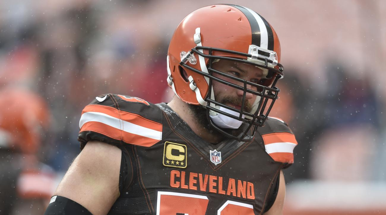 FILE - In this Dec. 11, 2016, file photo, Cleveland Browns tackle Joe Thomas walks on the field before an NFL game against the Cincinnati Bengals, in Cleveland. That giant zero hanging over the Browns right now might as well be a bullseye.Nobody wants to