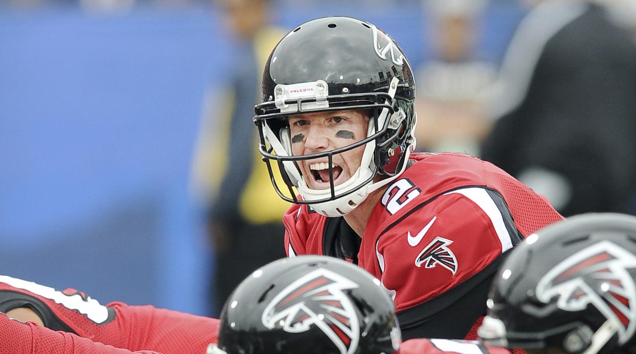 FILE - In this Dec. 11, 2016, file photo, Atlanta Falcons quarterback Matt Ryan (2) calls out from behind center during the first quarter of a game against the Los Angeles Rams, in Los Angeles. Four years after losing to San Francisco in the NFC champions