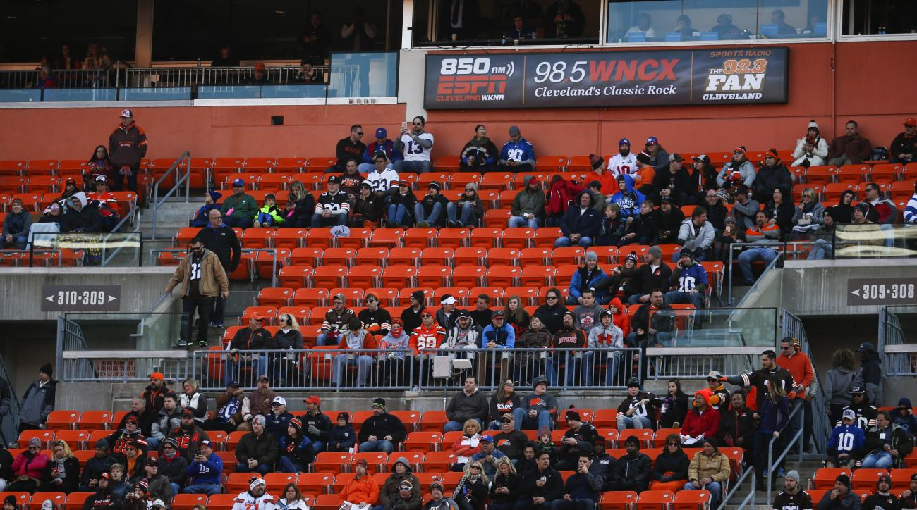 FILE - In this Nov. 27, 2016, file photo, empty seats remain in the stands in the first half of an NFL football game between the Cleveland Browns and the New York Giants, in Cleveland. While overall attendance in the NFL is up _ credit in great part the R