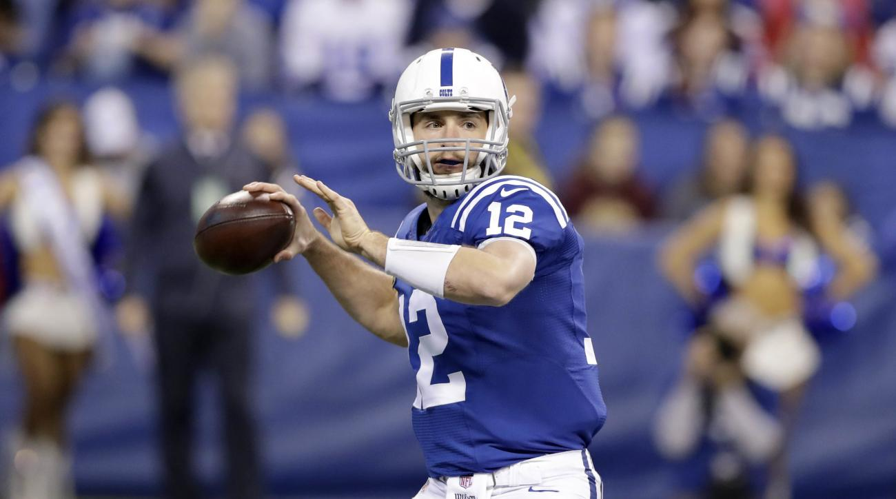 FILE - In this Sunday, Dec. 11, 2016 file photo, Indianapolis Colts quarterback Andrew Luck throws during the first half of an NFL football game against the Houston Texans in Indianapolis. The Indianapolis Colts (6-7) come to Minnesota on Sunday, Dec. 18,