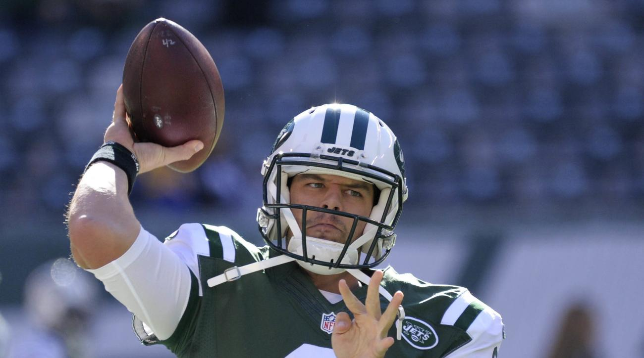 FILE - In this Sunday, Nov. 13, 2016 file photo, New York Jets quarterback Bryce Petty (9) warms up before playing against the Los Angeles Rams in an NFL football game in East Rutherford, N.J. The Jets play the Miami Dolphins on Saturday, Dec. 17, 2016. (