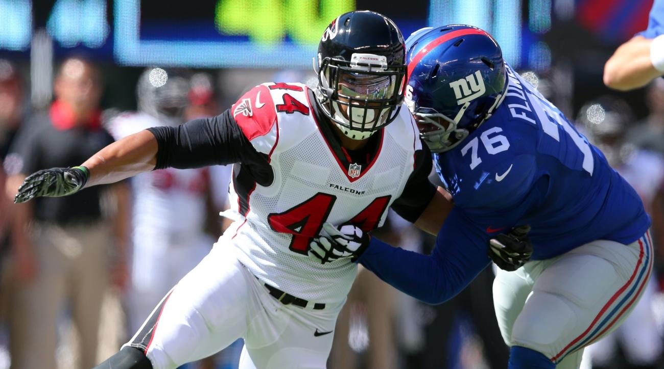 FILE - In this Sept. 20, 2015, file photo, Atlanta Falcons defensive end Vic Beasley Jr. (44) tries to get around New York Giants offensive tackle Ereck Flowers during an NFL game at MetLife Stadium in East Rutherford, N.J. The Falcons play the San Franci