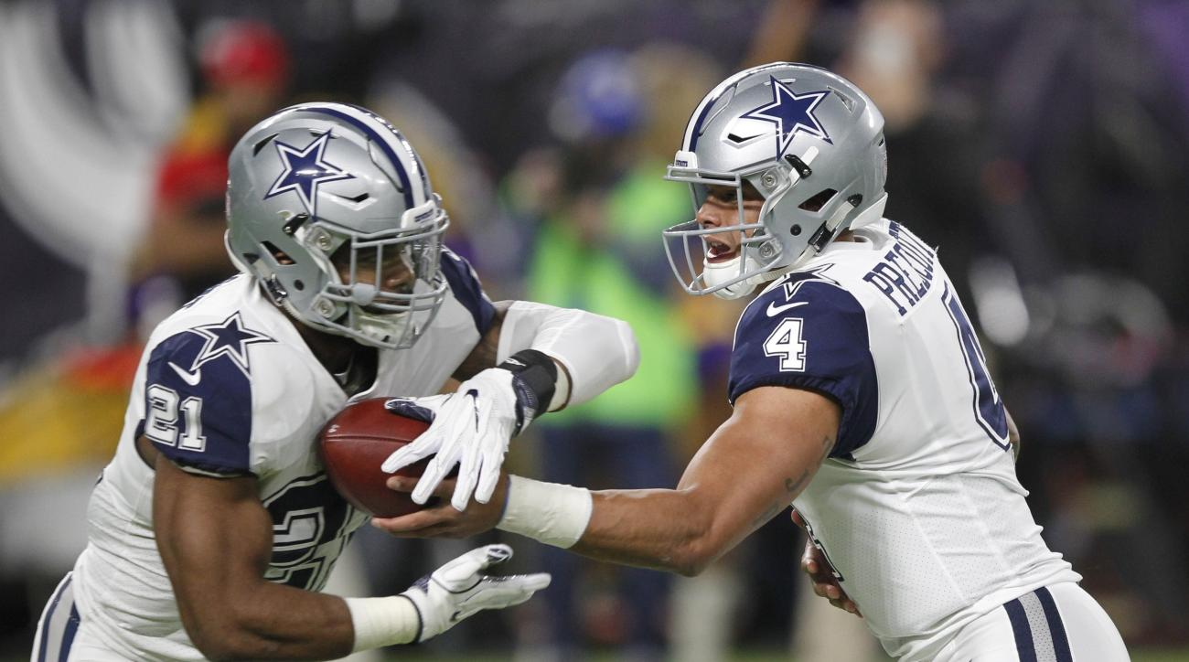 FILE - In this Thursday, Dec. 1, 2016 file photo,  Dallas Cowboys quarterback Dak Prescott, right, hands the ball off to running back Ezekiel Elliott during the first half of an NFL football game against the Minnesota Vikings in Minneapolis. The Dallas Co